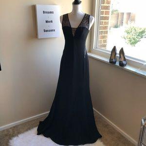 BCBG Paris black dress with lace cutouts