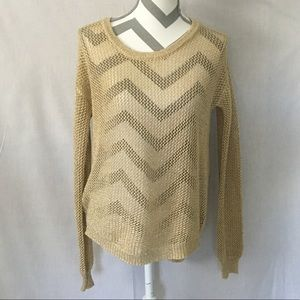 Blu Pepper Gold Metallic Knit Sweater