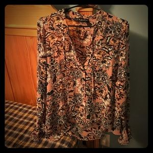 NWOT For Love and Lemons pink bell sleeve blouse