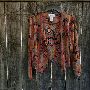 Vintage Tribal Print Flowy Button-up Top