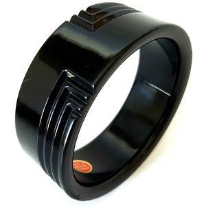Vtg. Carved Black Lucite Bracelet Made In Germany