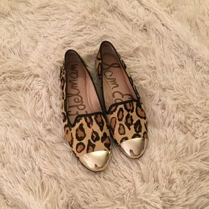 Sam edelman cap toe flats with cheetah print