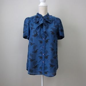 French Connection tie neck bird button down