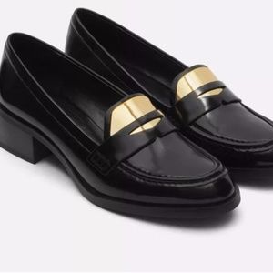 Zara Black & Gold Stacked Heel Loafers Size 9 NEW