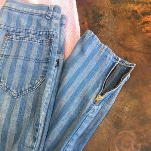 Vintage high waisted striped jeans w/ankle zippers