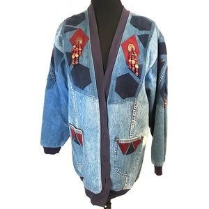 Vintage Southwestern patchwork denim jeans jacket