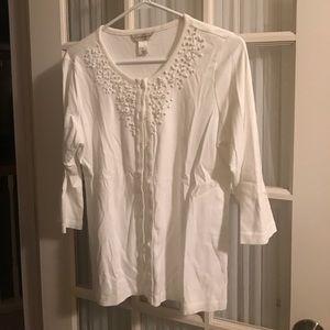 White embellished cardigan
