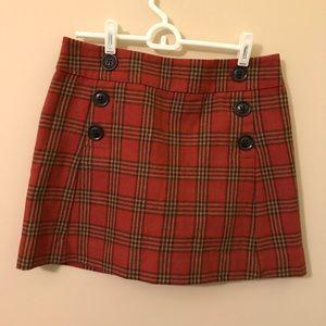 Gap Red Orange Plaid Mini Skirt