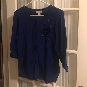 Blue embellished cardigan