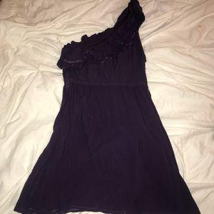Eggplant one shoulder dress