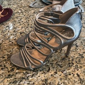 Vince Camuto Leather Silver Metallic Heels