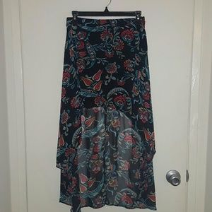 Pasley Flower Print High-Low Skirt