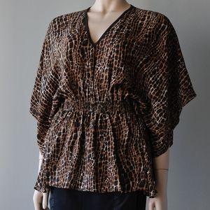Michael Kors brown animal print tunic top $1k