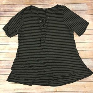 Torrid Striped Ribbed Knit Lace Up Tee