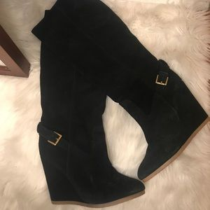 coach black suede wedge boot