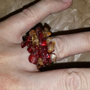 Jewelry - OOAK Precious stones and seed bead ring