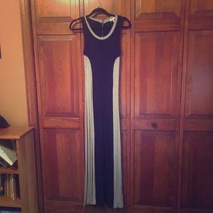 Black and gray maxi dress