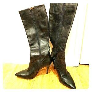 Via Spiga black leather high heel boots size 8