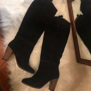 Black suede below knee boot