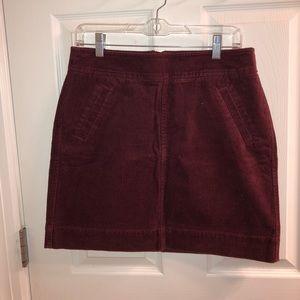 LOFT corduroy shift skirt in burgundy
