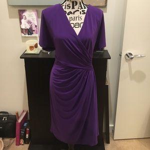 Ralph Lauren Purple Sheath Flutter Sleeve Dress