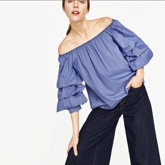 76d9c184 Zara Off Shoulder Top Tier Sleeve