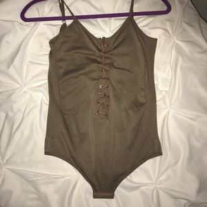 Other - Taupe lace up bodysuit