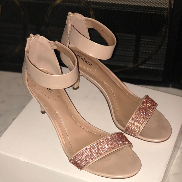 92684646c1 Style & Co Shoes | Style Co Nude And Rose Gold Strappy Heels | Poshmark