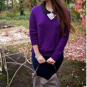 ❗️LOFT Purple Knit V Neck Sweater MSRP $118!