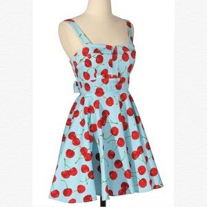 "🍒 Modcloth ""Pull Up a Cherry"" Dress in Blue 👗"