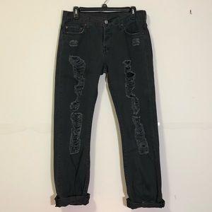 Levi's: dark grey 501 tapered leg jeans