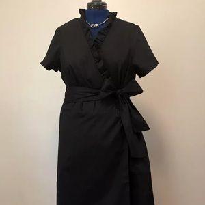 Black Semi Wrap Dress w Ruffle Detail