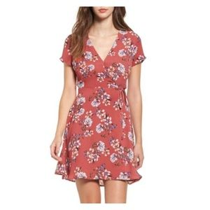 NWT Muave Dusty Rose Floral Wrap Fit & Flare XS