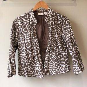 Chicos Leopard Print Jacket Open Front Size Small