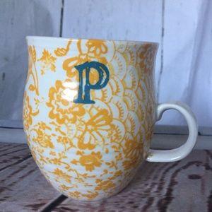 Anthropologie Homegrown Monogram Mug Letter P