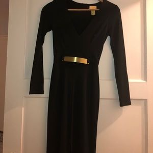 Formal black long sleeve gown, gold detail