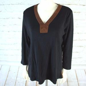 Lauren Ralph Lauren Black Brown Long-Sleeve Top