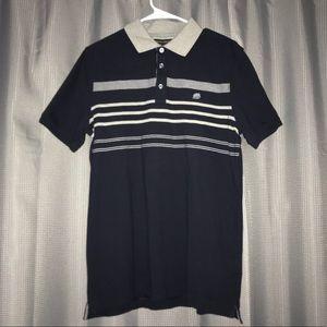 Banana Republic Polo Shirt Med Navy Blue Gray NWT