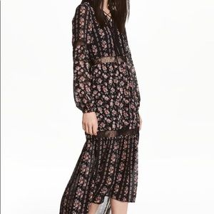 H&M chiffon roses lace up maxi dress