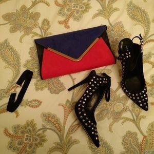 ALDO faux suede envelope clutch purse