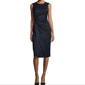 Shoshanna sleeveless metallic stripe sheath dress