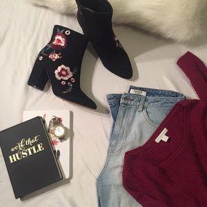 Burgundy Knit Angled Sweater