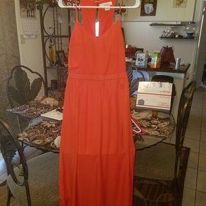 Orangish red long sheer dress