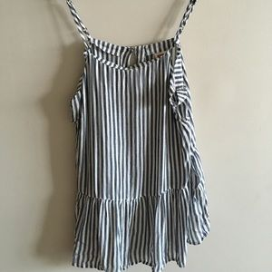 White and blue striped tiered tank