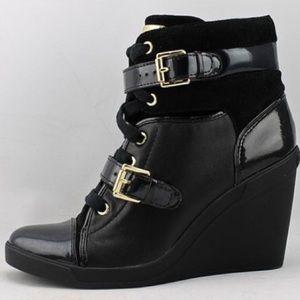 Michael Kors wedged black sneakers