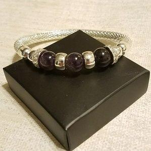 Avon silver mesh beaded bracelet
