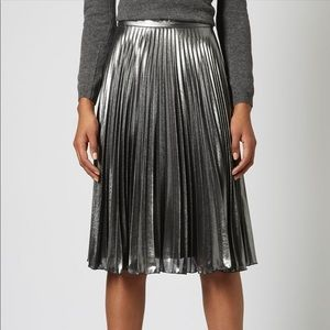Topshop metallic silver pleated accordion skirt
