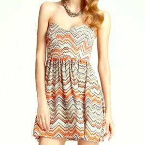 Parker Quilted Zig Zag Empire Dress M