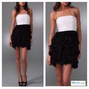 Alice & Olivia Ruffle Tier Black/Off White Dress