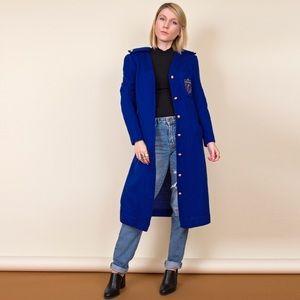 Vintage 80s blue duster cardigan sweater dress